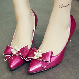 Ericdress Bright Bowtie&pearl Point Toe Pumps