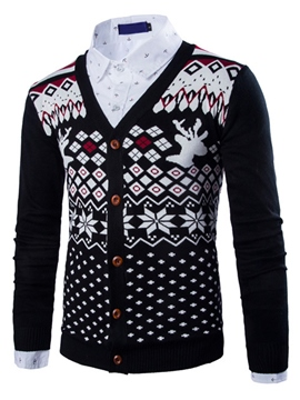 Ericdress Single-Breasted Ethnic Vogue Jacquard Men's Sweater