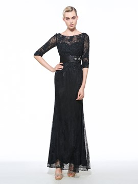 Ericdress Bateau Column 3/4 Length Sleeves Beaded Lace Ruched Evening Dress