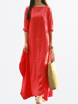 Ericdress Ethic Solid Color Floor-Length Maxi Dress