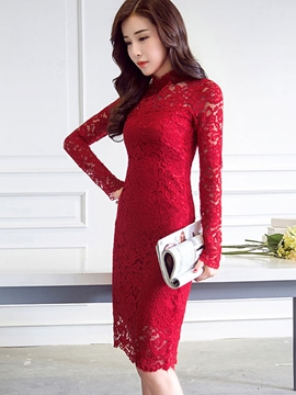 Ericdress Plain Stand Collar Lace Dress