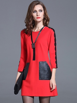 Ericdress Patchwork Pocket Long Sleeve Casual Dress
