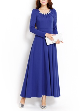 Ericdress Solid Color Long Sleeve Round Neck Autumn Maxi Dress