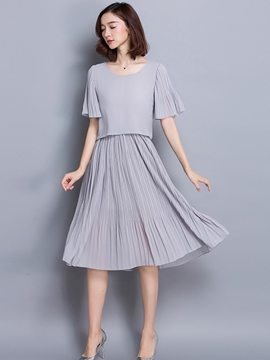 Ericdress Summer Soild Color Pleated Short Sleeve Casual Dress
