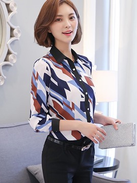 Ericdress Slim Geometric Blouse