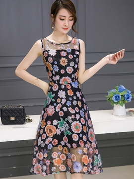 Ericdress Summer A-Line Mesh Patchwork Expansion Casual Dress