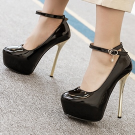 Ericdress Patent Leather Platform Ankle Strap Prom Shoes