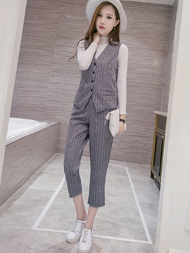 Ericdress Fashion Stripe Waistcoat Two-Piece Suit