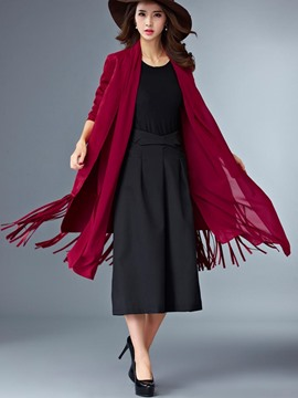 Ericdress Solid Color Loose Tassel Trench Coat