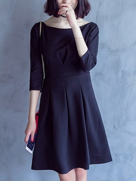 Ericdress Plain Pleated Three-Quarter Sleeve Casual Dress
