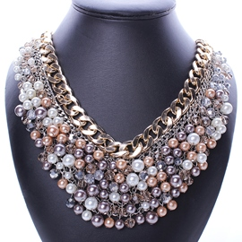 Ericdress Multilayer Pearls Rhinestone Necklace