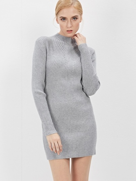 Ericdress Plain Stand Collar Sweater Dress
