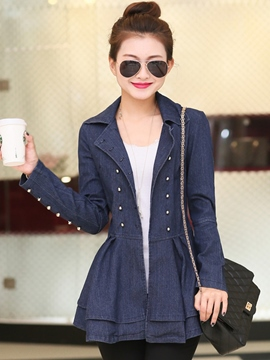 Ericdress Slim A-Line Denim Trench Coat