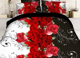 Ericdress Red Rose Bouquet Print 3D Bedding Sets