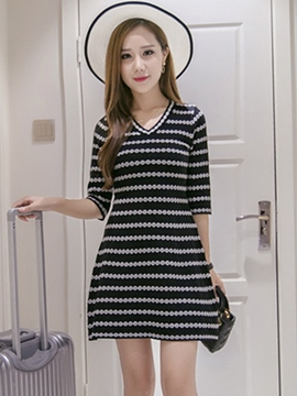 Ericdress V-Neck A-Line Sweater Dress