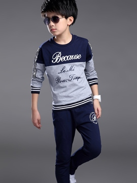 Ericdress Color Block Letter Printed Two-Piece Boys Outfits