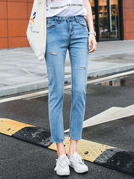 Ericdress Solid Color Ripped Nine Points Jeans