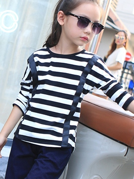 Ericdress Decorative Strap Strip Printed Girl's Top