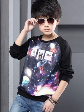 Ericdress Star Pattern Printed Patchwork Boy's Top