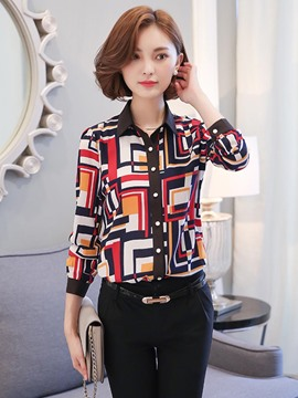 Ericdress Single-Breasted Geometric Blouse