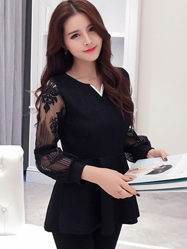 Ericdress Slim Solid Color Mesh Patchwork Blouse
