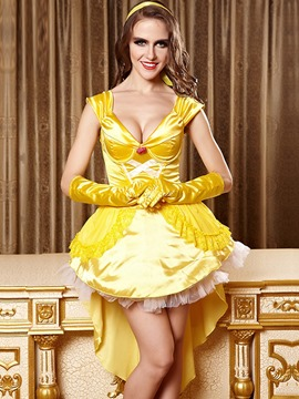 Ericdress Patchwork Yellow Princess Cosplay Halloween Costume