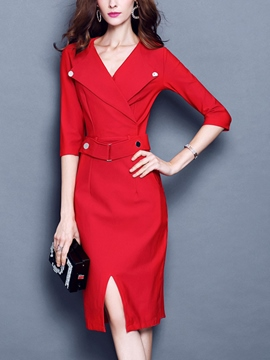 Ericdress Solid Color V-Neck Three-Quarter Sleeve Sheath Dress