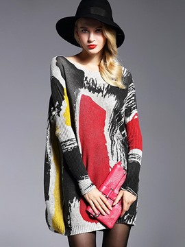 Ericdress Color Block Painted Loose Knitwear