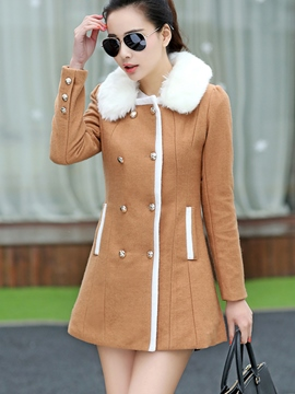 Ericdress Color Block Double-Breasted Button Slim Coat