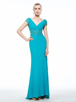 Ericdress Sheath V-Neck Cap Sleeves Appliques Beading Ruched Brush Train Evening Dress