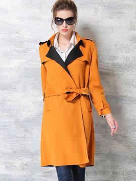 Ericdress Color Block Slim Belt European Trench Coat