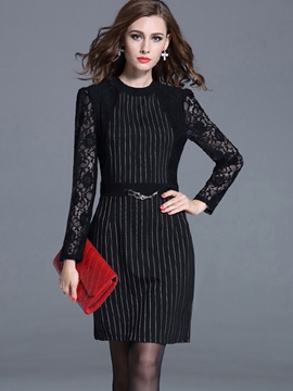 Ericdress Stripe Lace Patchwork Long Sleeve Bodycon Dress