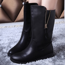 Ericdress Cool PU Side Zip Flat Boots
