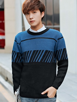 Ericdress Color Block Pullover Vogue Men's Sweater