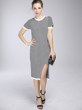 Ericdress Stripe Split Patchwork Bodycon Dress