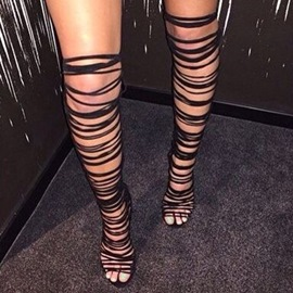 Ericdress Open Toe Cutout Knee High Stiletto Sandals