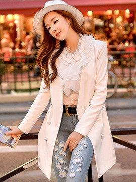 Ericdress Solid Color V-Neck Chiffon Patchwork Blazer