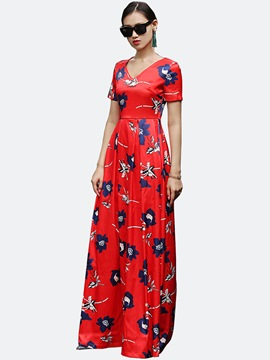 Ericdress European Flower Print Floor-Length Maxi Dress