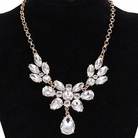 Ericdress White Crystal Gold Plated Necklace