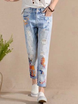 Ericdress Unique Print Ripped Jeans