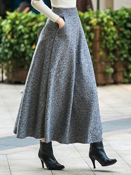 Ericdress Solid Color Expansion Maxi Skirt