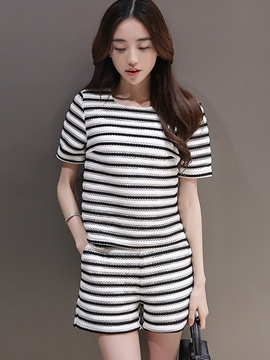 Ericdress Casual Stripe Shorts Suit