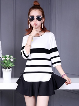 Ericdress Stripe Long Sleeve Falbala Casual Dress
