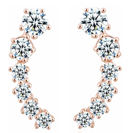 Ericdress Moon Shaped Zircon Earrings