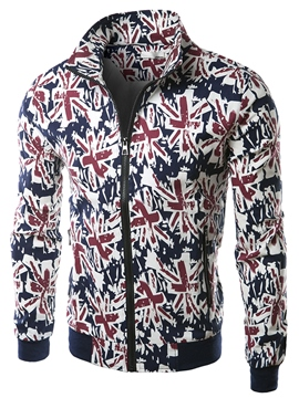 Ericdress Flag Pattern Casual Slim Men's Jacket