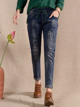 Ericdress Unique Worn Jeans.