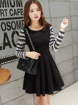 Ericdress Autumn Long Sleeve Patchwork Sweater Dress