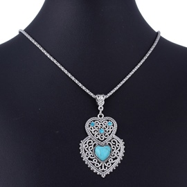 Ericdress Double Heart Shaped Turquoise Necklace