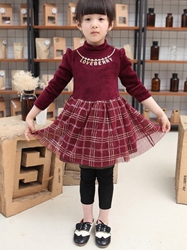Ericdress Necklace Lattice Mesh Patchwork Pleated Girls Dresses