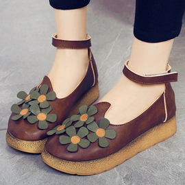 Ericdress Vintage Flower Decorated Ankle Strap Flats